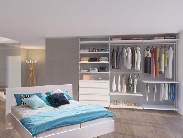 Offenes Schranksystem AMICA mit passendem Designerbett in weiß