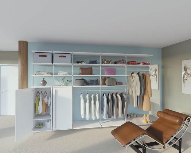 Der begehbare Kleiderschrank PURE kann nach eigenen Wünschen gestaltet werden