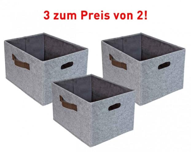3er Set Aufbewahrungskorb Filz   Filzbox sehr stabil