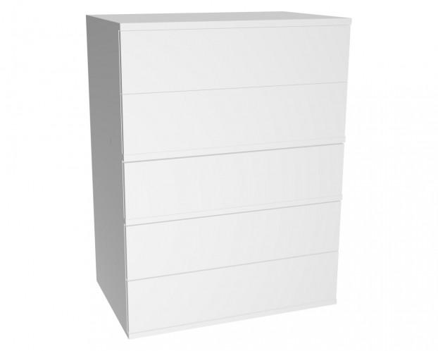 Schrankelement mit 5 Schubladen grifflos | Weiß