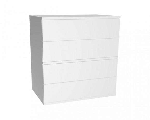 Schrankelement mit 4 Schubladen grifflos | Weiß