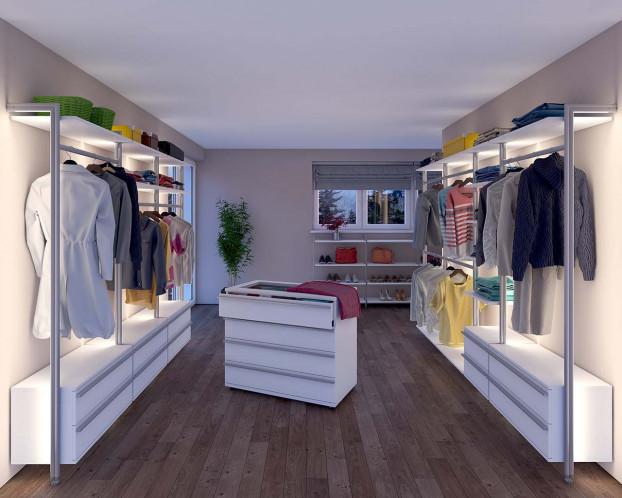 Mit dem begehbaren Kleiderschrank kann ein Ankleidezimmer ausgestattet werden