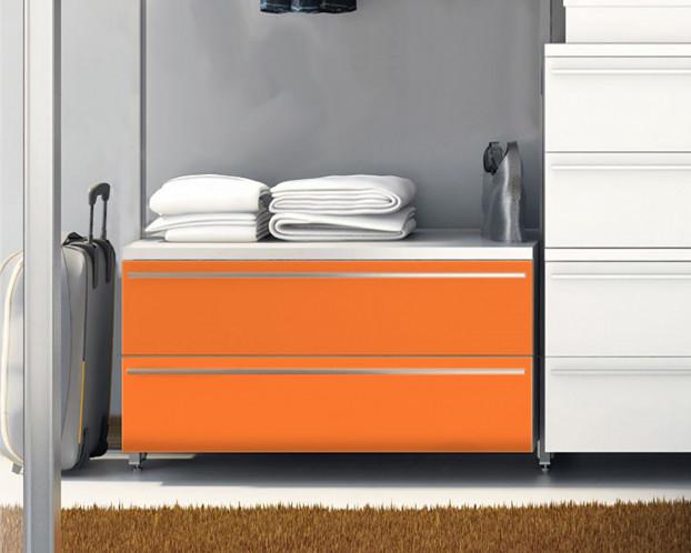 Schubkastenelement Front Weiß/Orange