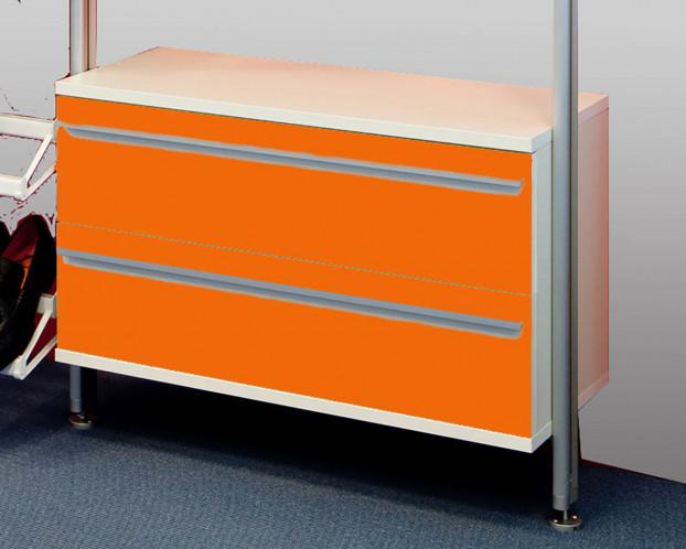 Schubkastenelement Weiß/Orange