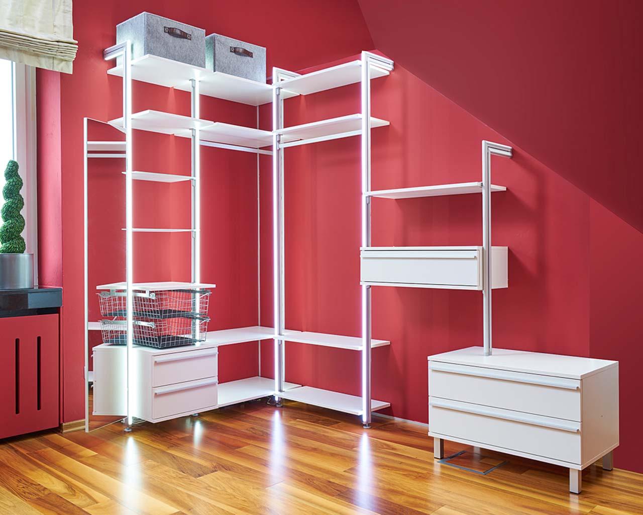 Eckvariante 3 f. begehbaren Kleiderschrank   frank schranksysteme Shop   flexible Lösungen für ...