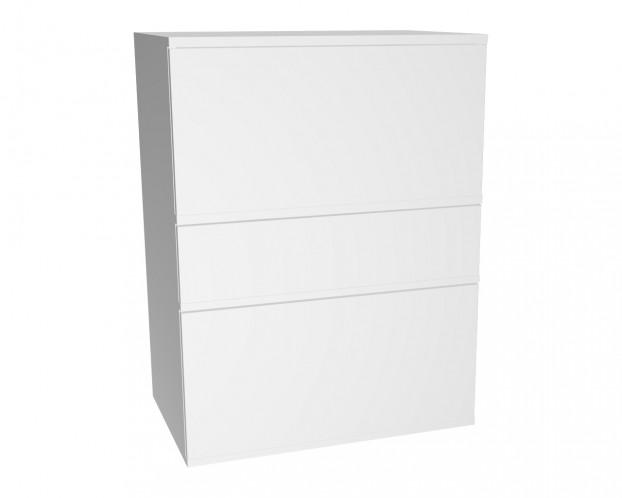 3er Schrankkombination mit 2 Klappenelementen + 1 Schublade | Weiß