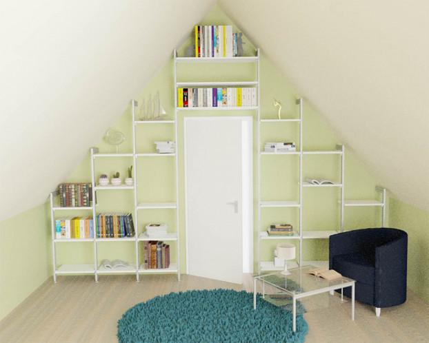 Das Bücherregal MANHATTAN eignet sich als Regal unter eine Dachschräge